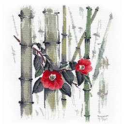 Cross Stitch Kit Camellias in bamboo grove art. 1268
