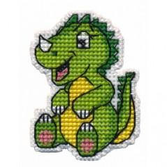 Cross Stitch Kit Badge-Dino art. 1321