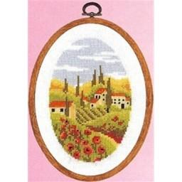 Cross Stitch Kit Poppy Village Toscana 2012/74097 including plastic frame