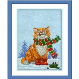Cross stitch kit First Snow (cat) art. 701