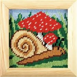 Cross stitch kit for beginners Mushroom and Snail art. 1504 included wood frame