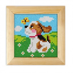 Cross stitch kit for beginners Dog art. 6713 with printed canvas included wood frame