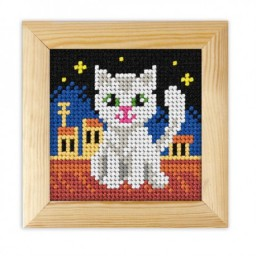 Cross stitch kit for beginners Cat on the roof art. 6714 included wood frame