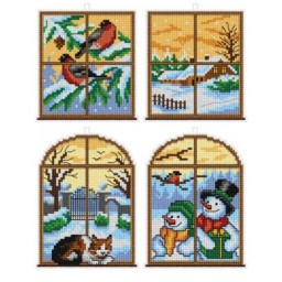 Cross Stitch Kit Christmas with plastic canvas art. 7664