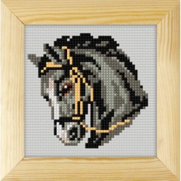 Cross stitch kit for beginners Black horse art. 7732 included wood frame