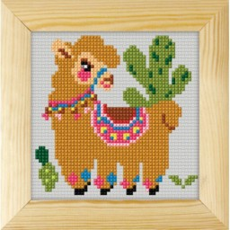 Cross stitch kit for beginners llama art. 7735 included wood frame