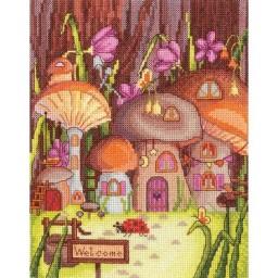 Cross Stitch Kit Mushrooms Houses M-06 Pre-order