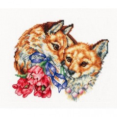 Cross Stitch Kit Happy Together (Foxes) F-49
