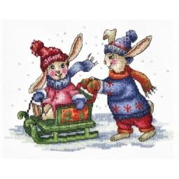 Cross Stitch Kit Bunnies Winter Games B-43