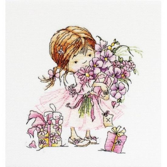 Cross Stitch Kit Girl With A Bouquet B1055