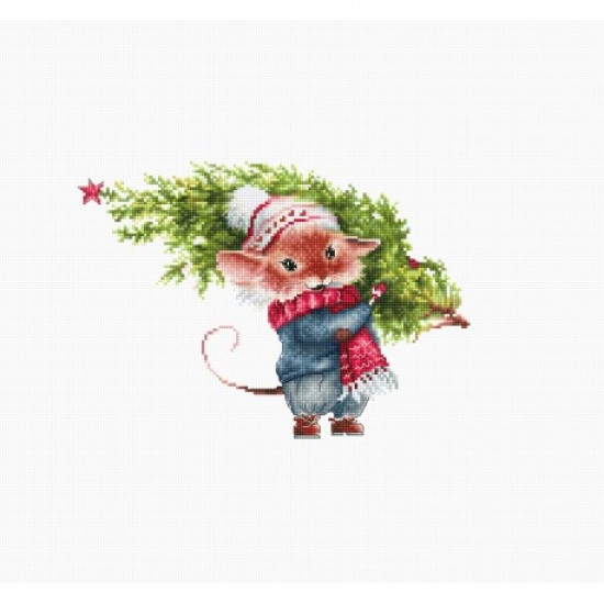 Cross stitch kit Mouse With Fir Tree B1169