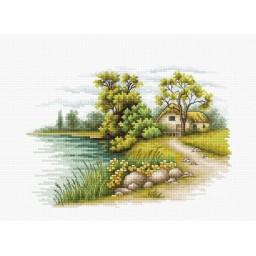 Cross stitch kit Landscape with a Lake B2283