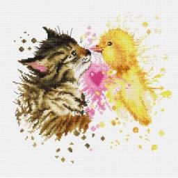 Cross Stitch Kit Kitten and Ducking B2301