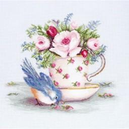 Cross Stitch Kit Bird in Tea Cup BA2324