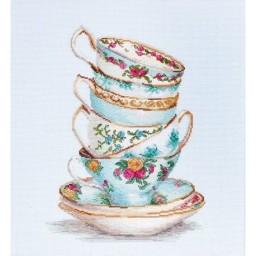 Cross stitch kit Turquoise Themed Tea Cups 16ct BA2325