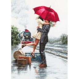Cross stitch kit Couple On Train Station B2369
