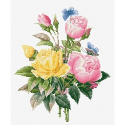 Cross stitch kit Yellow Roses and Bengal Roses BU4003