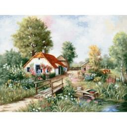 Cross stitch kit Village Landscape BU4011 Pre-order