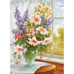 Cross stitch kit Flowers at the window BU4015