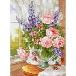 Cross stitch kit Flowers at the window BU4016