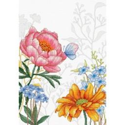 Cross stitch kit Flowers and Butterfly BU4019