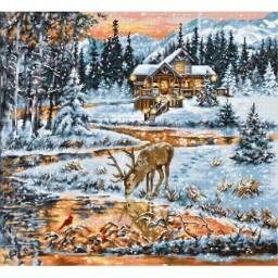Cross stitch kit Snowy Cabin BU4022