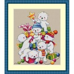 Cross Stitch Kit Christmas Bears K-55