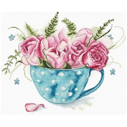 Cross stitch kit A Cup of Roses LETI 916