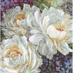Cross Stitch Kit White Roses LETI 930