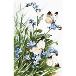 Cross stitch kit Butterflies and bluebird flowers LETI 939
