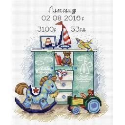 Cross Stitch Kit I was born! Boy M-104