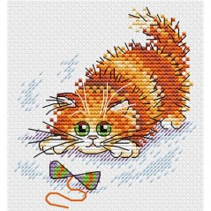 Cross Stitch Kit Adventurous ginger cat M-227