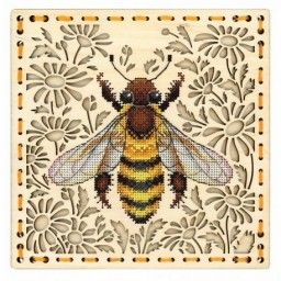 Cross Stitch Kit IN THE FIELD OF DAISIES O-017 on perforated plywood base