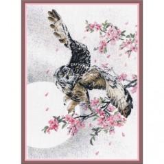Cross Stitch Kit In sakura flowers (owl) PK-17