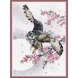 Cross Stitch Kit In sakura flowers (owl) PK-17