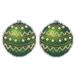 Cross Stitch Kit Christmas Tree Decoration - Emerald R-165 on plastic canvas
