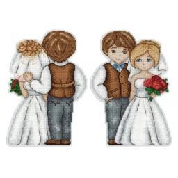 Cross Stitch Kit Husband & Wife R-276 on plastic canvas