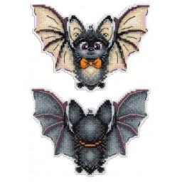 Cross Stitch Kit Bat R-304 on plastic canvas