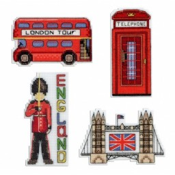 Cross stitch kit England magnets R-305