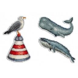 Cross Stitch Kit Ocean Sound - Magnets R-330 on plastic canvas