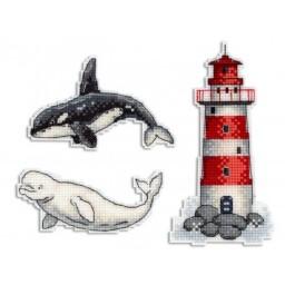 Cross Stitch Kit Sea Story - Magnets R-333 on plastic canvas