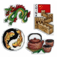 Cross Stitch Kit China - Magnets R-335 on plastic canvas