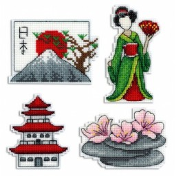 Cross Stitch Kit Japan - Magnets R-336 on plastic canvas