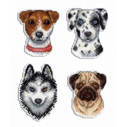 Cross Stitch Kit Dogs Magnets R-409 on plastic canvas