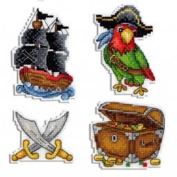 Cross Stitch Kit Pirate Ship - Magnets R-451 on plastic canvas