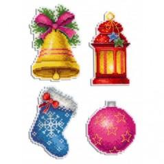 Cross Stitch Kit Christmas - Magnets R-461 on plastic canvas