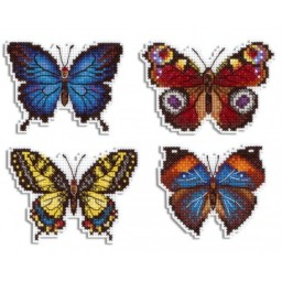 Cross Stitch Kit Bright Butterflies Magnets R-485 on plastic canvas