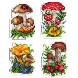 Cross Stitch Kit Mushroom Basket R-486 on plastic canvas