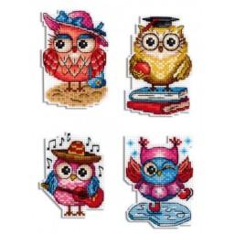 Cross Stitch Kit OWL STORIES - Magnets R-487 on plastic canvas