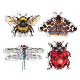 Cross Stitch Kit WINGED FRIENDS. MAGNETS R-488 on plastic canvas